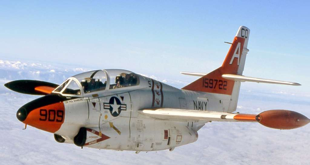 The North American T-2 Buckeye Jet flying on a sunny day.